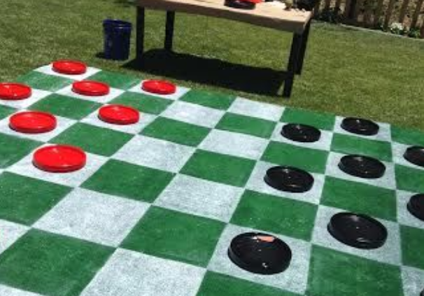 Red vs black giant backyard checkers